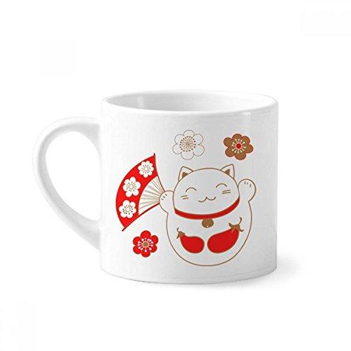 DIYthinker Japan Lucky Fortune Kat Bloem Koper Mini Koffie Mok Wit Aardewerk Keramische Beker Met Handvat 6oz Gift