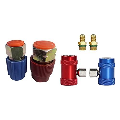 WYJ Salida de aire Retrofit 7/16 a 3/8 Adaptador de conversión R12 a R134A y coche auto AC alta/baja lado R1234Yf acopladores rápidos Adaptadores salida de aire acondicionado
