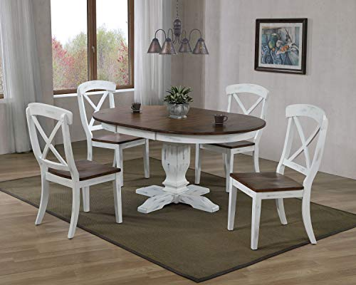 Iconic Furniture Company 5 Piece Dinning Set, 63, Cocoa Brown/Distressed Cotton White