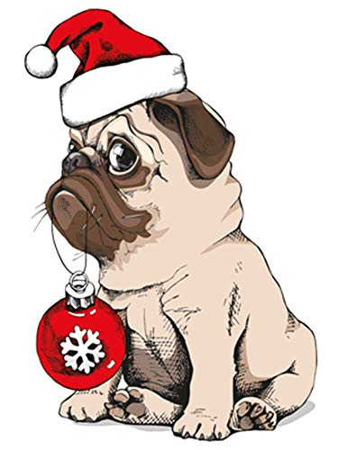 YEESAM ART Stationery Pug Dog Christmas Hat, Paint by Numbers 16x20 inch DIY Painting Kits for Home Wall Decor (Pug 1, Without Frame)