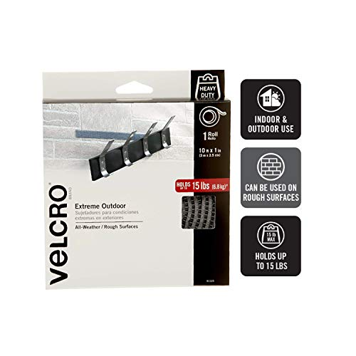 VELCRO Brand Extreme Outdoor Heavy Duty Tape   10Ft x 1 In   Holds 15 lbs   Titanium, Industrial Strength Adhesive Back Rolls   Strong Weather Resistant for Brick, Concrete (91365) Photo #2
