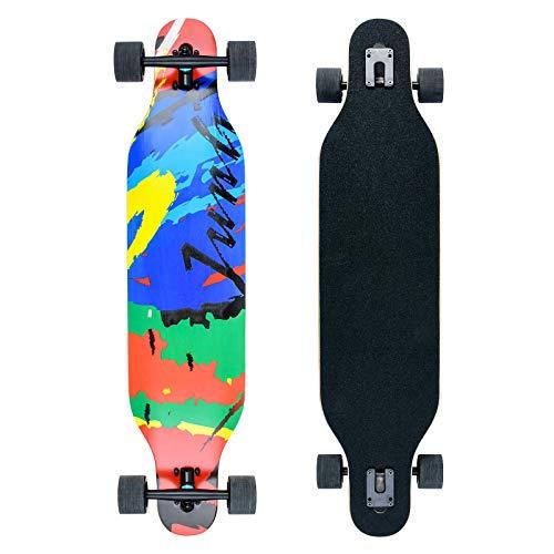 Longboard Skateboard Cruiser Komplettes Board mit ABEC-11 Lagern, acht Schichten Ahorn Longboard Jungen und Mädchen Brush Street Dance Board Anfänger Erwachsener Teenager… (wanghong)