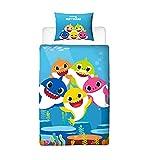 Baby Shark Song - Funda de edredón Reversible de Dos Caras con Funda de Almohada a Juego, diseño de Familia Individual, Color Azul