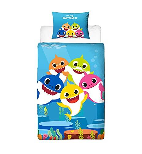 Baby Shark Song - Funda de edredón Reversible de Dos Caras con Funda de Almohada a Juego, diseño...