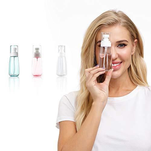 Botellas de plástico con pulverizador, 100 ml, recipientes de líquido rellenables, vacíos para el cuidado de la piel con 3 paquetes (azul, rosa, transparente)