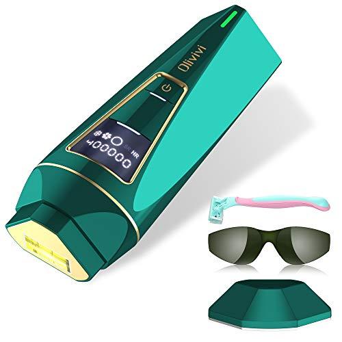 Depiladora Luz Pulsada IPL, Olivivi Real 400.000 Parpadeo Indoloro mejor depiladoras femeninas laser mujer con sensación de hielo sincronizada completamente cubierta de 9 cm² para mujeres y hombres