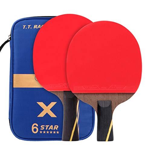 6 estrellas raqueta de tenis de mesa, formación profesional juego de ping pong raqueta, 2 piezas, equipado con bolsa de almacenamiento portátil, mango largo / corto mango, oficina-casa-de interior o a