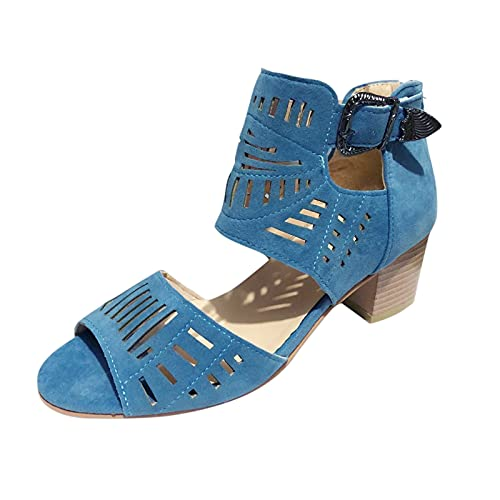 FAMOORE Sandals For Women Wide Width Women Fashion Crystal Elastic Band Solid Outdoor Sandals Casual Shoes (Blue ,10)