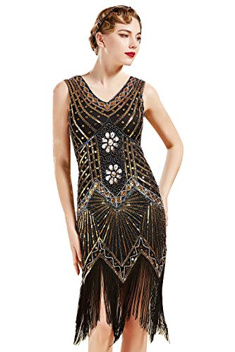 BABEYOND Damen Flapper Kleider voller Pailletten Retro 1920er Party Damen Kostüm Kleid Gold, M