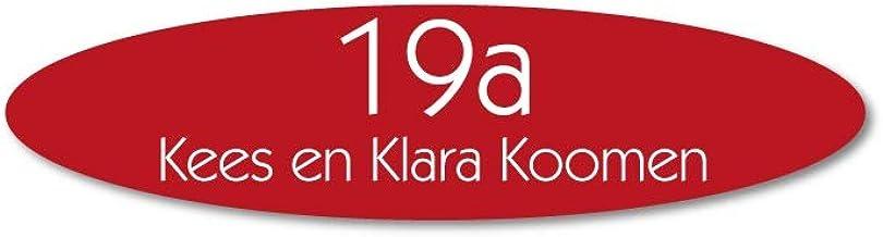 Naamplaatje rood ovaal t.b.v. brievenbus, 8x2 cm