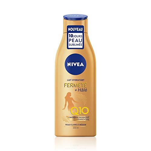NIVEA Lait Hydratant Fermeté + Hâlé (1 x 200 ml), lait corps pour peaux claires à médium, soin corps hydratation fermeté & bronzage progressif à la glycérine, Q10 & DHA