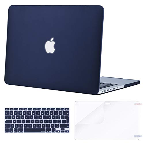 MOSISO Plastic Hard Case & Matching Color Keyboard Cover & Screen Protector Compatible with Older Version MacBook Pro Retina 13 Inch (Models: A1502 & A1425 Release 2015 - end 2012), Navy Blue