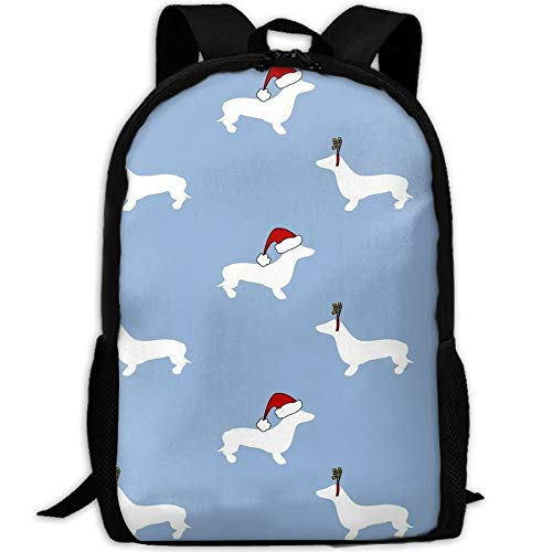 TTmom Zaini/Zaino Casual,Borse a Zainetto, Dachshunds For Christmas School Backpack Bookbag For College Travel Hiking Fit Laptop Water Resistant