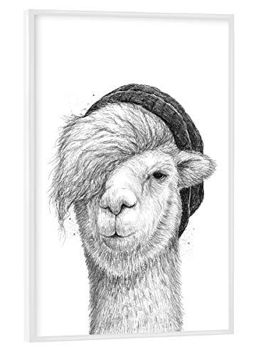 artboxONE Poster mit weißem Rahmen 30x20 cm Lama & Alpaka Tiere Lama mit Hut - Bild lama
