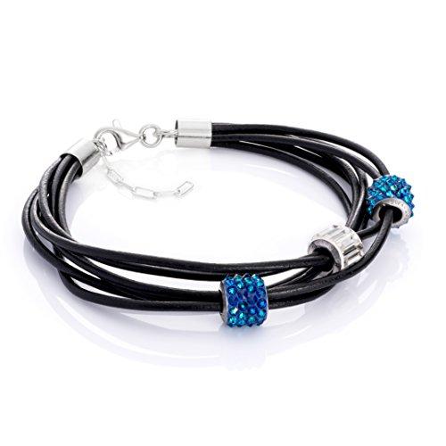 LillyMarie Damen Lederarmband Swarovski Elements Beads Blau Längen-verstellbar Satin-Beutel Muttertagsgeschenk