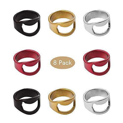 Mila-Amaz Apribottiglie anello Birra Apribottiglie anello Cavatappi metallo, 8 Pcs