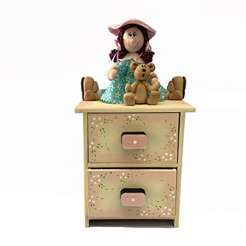 Creaciones Pi-Pé Regalos creativos mueble de madera adornos para el hogar Buró 2 Cajones con muñeca artículo decorativo con detalles y novedades de decoración para almacenar cajonera bellos recuerdos ideal para regalo, alhajero, joyero, decoraciones