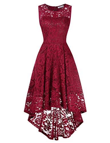 KOJOOIN Vestido Cóctel Vintage Hi-Lo Elegante Mujer Flor Encaje Vestidos de FiestaVino Tinto 2 sin Mangas Small