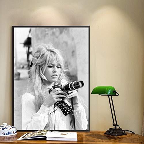 wZUN Póster de Moda Francesa Lienzo Modelo Blanco y Negro Foto Vintage Cuadro Pared Artista decoración del hogar 60x80 Sin Marco