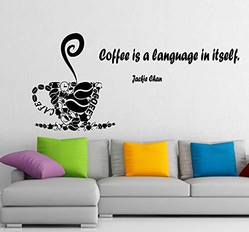 Sticker mural Jackie Chan Citation du café est une langue en forme de cup Cafe Cuisine Home Vinyle Autocollant Autocollant Enfant Chambre d'enfant Baby Room Decor m663