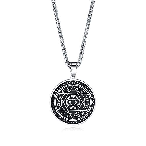 UMtrade Hip Hop Mens Stainless Steel 12 Constellations Hexagram Pendant Necklace