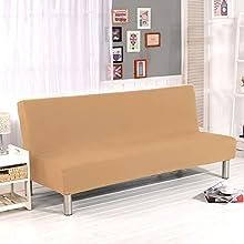WINS Funda de sofá Cama 3 plazas Fundas Sofa Click clack sin Brazos Funda de sofá Cama Plegable elástica Fundas Clic clac Camello