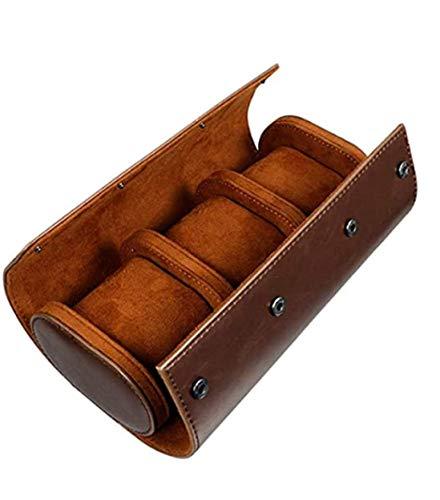 Boîte de rangement à 3 emplacements pour montres - Rétro - En cuir synthétique - Sac de voyage élastique - Organiseur de bijoux -...