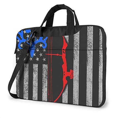 15.6″Lightweight Laptop Notebook Shoulder Backpack Bag Blue Thin Flag Bow Arrow Deer Waterproof PC Briefcase Messenger with Strap