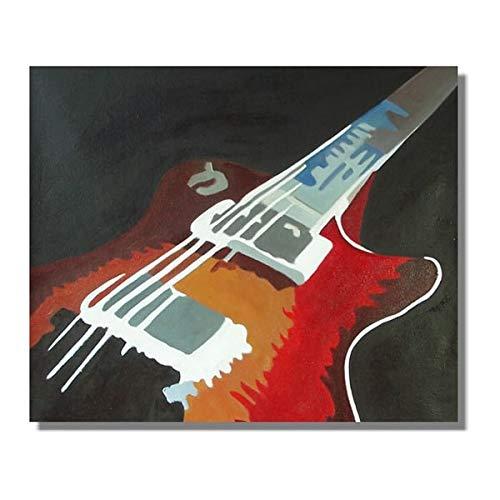 JXFFF 40x40cm (sin Marco) tamaño Personalizable en 3D Arte Moderno Pintura al óleo Lienzo Guitarra Abstracta en la decoración de la Sala de Estar Pintura grupal Colgante