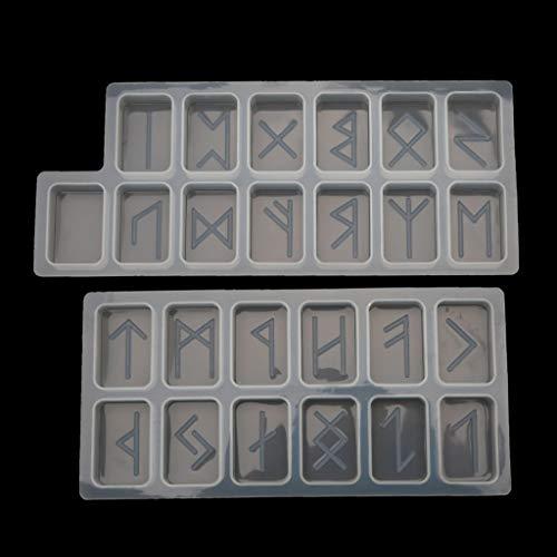 Bandeja para Hornear, Viking Rune Stones Kit de Molde de Resina de Bruja con Alfabeto de Futhark Antiguo Grabado