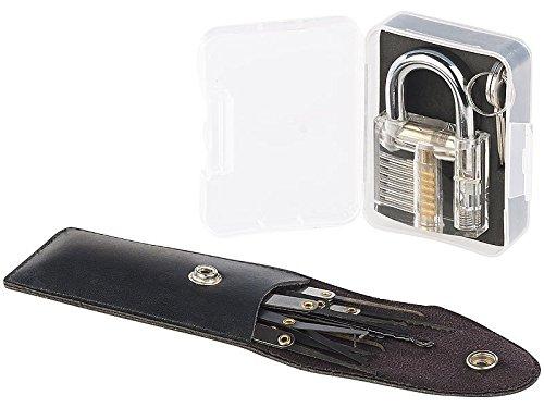 AGT Übungsschloss: Lockpicking-Set mit 17-teiliger Dietrich-Tasche und Übungs-Schloss (Schloss Knacken Set)