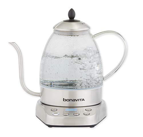 Bonavita BV07001US Cosmopolitan 1.3L Variable Temperature Body Electric Kettle, Glass and Stainless Steel