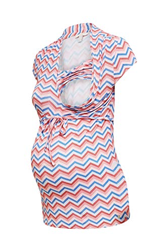 ESPRIT Maternity Damen Nursing ss AOP Umstands-T-Shirt, Mehrfarbig (Coral 645), 34 (Herstellergröße: XS)