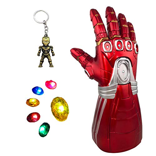 Dreariv Iron Man Infinity Guanto di Sfida per I Bambini, Iron Man Infinity Guanto con 6 LED Magnetica Pietre Cosplay Puntelli di Halloween