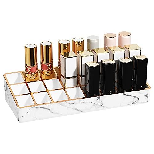 Shinowa Organizador de Maquillaje con 24 Compartimentos de Almacenamiento, Caja de Cosméticos para Pintalabios 24 Rejillas de PS para Organización de Lápiz Labial, Pinceles, Mármol Blanco