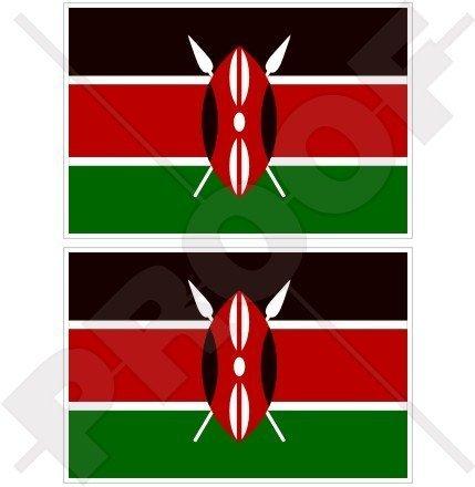 KENIA Kenianer Flagge, Ostafrika AFRIKANISCH 100mm Auto & Motorrad Aufkleber, x2 Vinyl Stickers
