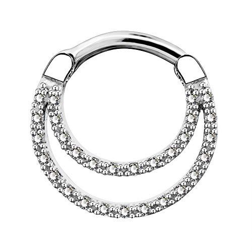 OUFER 16G Daith Piercing Jewellery Tribal Clear CZ Septum Clicker 1.2mm 316L Stainless Steel Bar Cartilage Earrings Helix Simple Body Jewellery
