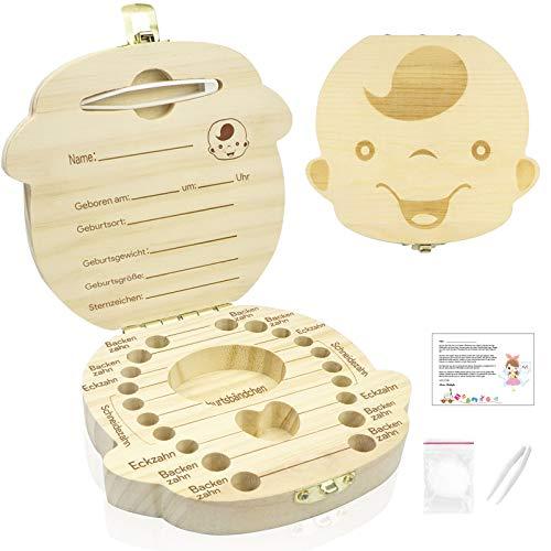 Zahnbox für Jungen, Telgoner Zahndose Holz Milchzahndose Eingebaute Pinzette Milchzahnbox zum Speichern von Milchzähne inkl. Geschichten der Zahnfee, Zwei Pinzetten, Watte
