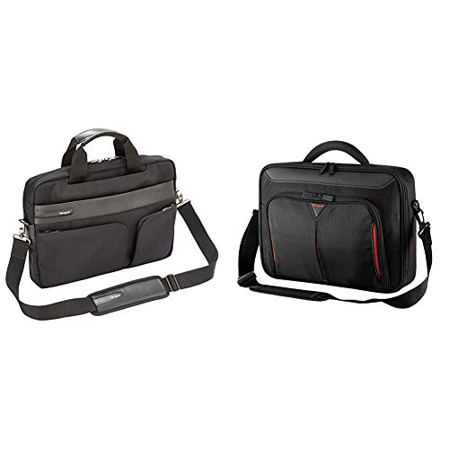 Targus Lomax Ultrabook 13.3-Inch Topload Business Commuter Laptop Case and Messenger Bag, Black (TBT236EU) & Classic+ 15-15.6' Clamshell case - Black/Red