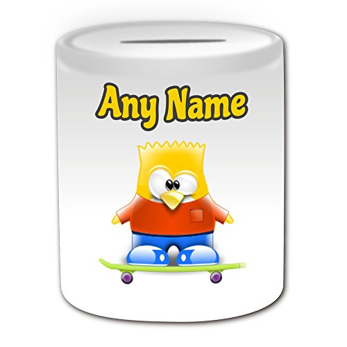 Gepersonaliseerd geschenk - Bart Simpson Money Box (Penguin Cartoon Character Kostuum Design Thema, wit) - Elke naam/bericht op uw unieke - opslaan Piggy Bank - dom grappige Novelty Kawaii Humor Anime Animation Film Film Spel Nieuwe kunst Clipart Episode TV Televisie Series Japan Japanse Manga Comedy Strips Boek Disney Tekenen Picturesainting Superhero Hero Super familie Springfield Homer Lisa Maggie Marge Skateboard