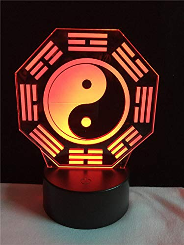 Kssim Lámpara 3D De Estilo Chino Religon Tai Chi Ocho Diagramas Faith Decorata Tive Cable De Iluminación De Regalo Led Usb Mood Night Light Multicolor