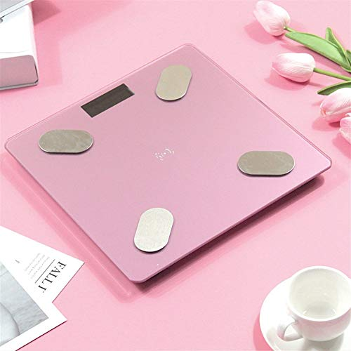 LVYI Rechargeable Bluetooth Smart Electronic Body Balance Balance de Graisse corporelle Graisse avec écran LCD rétroéclairé HD, Technologie Pas à Pas (Color : Pink)