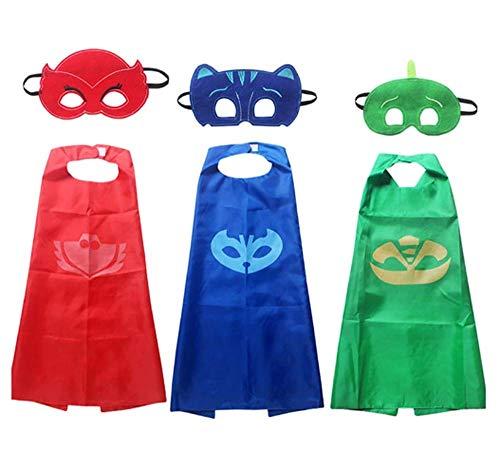 Mooyii 3 x Pyjama Kids Superhelden Kinderkostüm Kinder Kostüme, ideal für Kindergeburtstag, Fasching oder Karneval