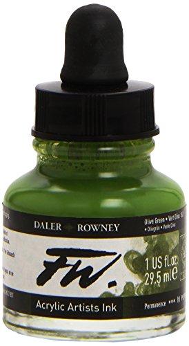 Daler - Rowney FW 29.5ml Acrylic Art Ink Bottle - Olive Green