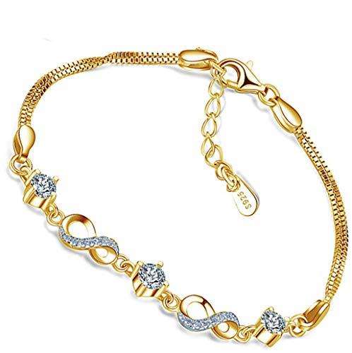 *Beforya Paris* - Infinity - Pulsera ajustable - con circonitas Swarovski Elements - De plata 925 / chapado en oro de 24 K - Preciosa pulsera para mujer con caja de regalo.
