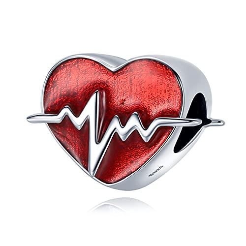 Annmors Abalorios Charms Colgantes de Electrocardiograma Cardioide Cuentas Plata de Ley 925 con Compatible con Pulsera Pandora & Europeo