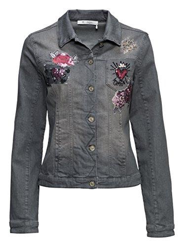 Jeansjacke mit Hemdkragen, Pailletten-Patches und Stickerei