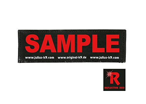 Julius-K9, Original Custom Patch with Hook and Loop Fastener, Large, 1 Piece, Black with red Reflective Letters