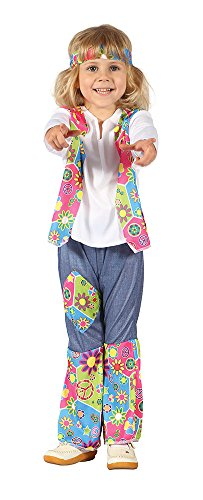 Bristol Novelty CC076 Costume de Fille Hippie pour Tout-Petit, Age 2–3 Ans, Multicolore, XS