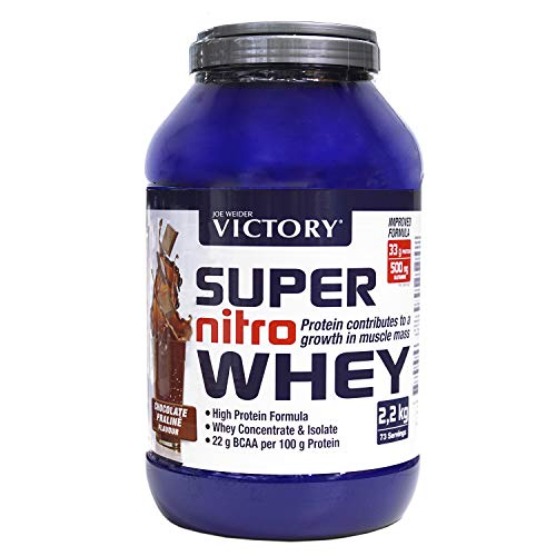 Victory Super Nitro Whey Chocolate-Praliné (2.2 kg). Whey Concentrate and Isolate. Protein Source Rich in BCAAs. Muscle Recovery. with L-Glutamine, Vitamin B6 and Calcium.
